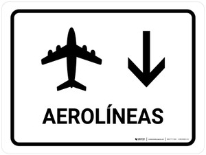 Airlines With Down Arrow White Spanish Landscape - Wall Sign