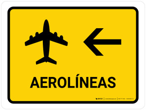 Airlines With Left Arrow Yellow Spanish Landscape - Wall Sign