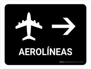 Airlines With Right Arrow Black Spanish Landscape - Wall Sign