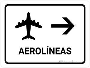 Airlines With Right Arrow White Spanish Landscape - Wall Sign