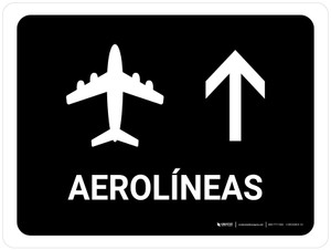 Airlines With Up Arrow Black Spanish Landscape - Wall Sign