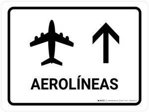 Airlines With Up Arrow White Spanish Landscape - Wall Sign
