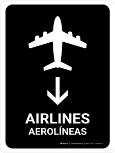 Airlines With Down Arrow Black Bilingual Portrait - Wall Sign