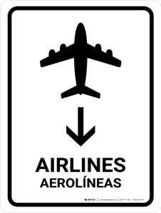 Airlines With Down Arrow White Bilingual Portrait - Wall Sign