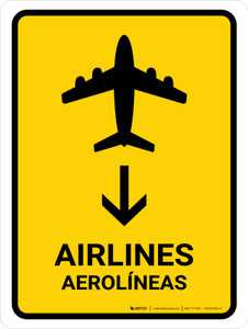 Airlines With Down Arrow Yellow Bilingual Portrait - Wall Sign