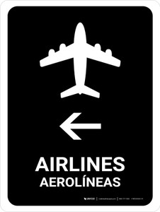 Airlines With Left Arrow Black Bilingual Portrait - Wall Sign