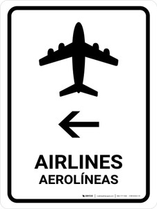 Airlines With Left Arrow White Bilingual Portrait - Wall Sign