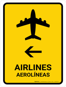Airlines With Left Arrow Yellow Bilingual Portrait - Wall Sign