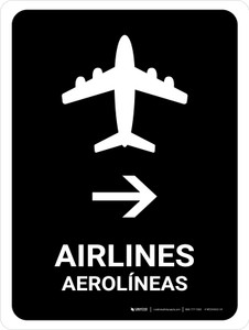 Airlines With Right Arrow Black Bilingual Portrait - Wall Sign