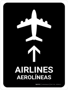 Airlines With Up Arrow Black Bilingual Portrait - Wall Sign