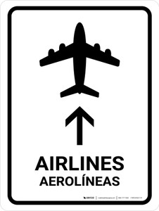 Airlines With Up Arrow White Bilingual Portrait - Wall Sign