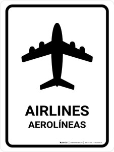 Airlines White Bilingual Portrait - Wall Sign