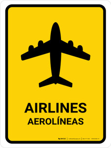 Airlines Yellow Bilingual Portrait - Wall Sign