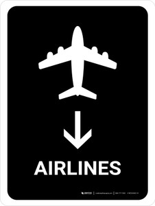 Airlines With Down Arrow Black Portrait - Wall Sign