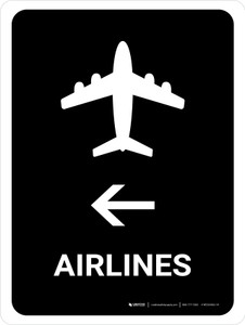 Airlines With Left Arrow Black Portrait - Wall Sign