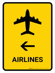 Airlines With Left Arrow Yellow Portrait - Wall Sign