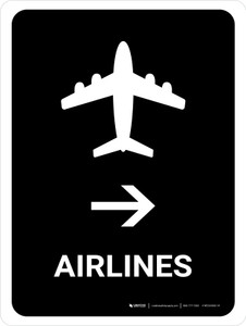 Airlines With Right Arrow Black Portrait - Wall Sign