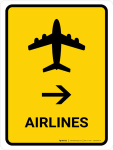 Airlines With Right Arrow Yellow Portrait - Wall Sign