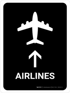 Airlines With Up Arrow Black Portrait - Wall Sign