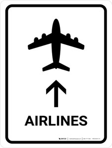 Airlines With Up Arrow White Portrait - Wall Sign