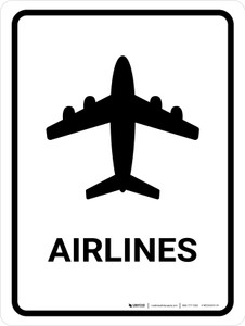 Airlines White Portrait - Wall Sign