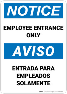 Notice: Employee Entrance Bilingual  - Wall Sign