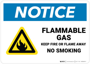 Notice: Flammable Gas Keep Fire Or Flame Away   - Wall Sign