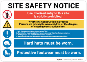 Notice: Multi Message Job Site Safety  - Wall Sign