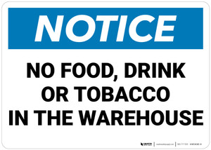Notice: No Food Drink Or Tobacco In The Warehouse   - Wall Sign