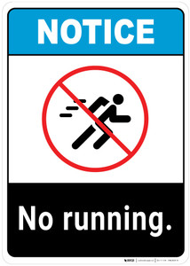 Notice: No Running ANSI - Wall Sign