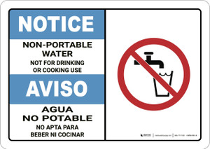 Notice: Non Potable Water Bilingual - Wall Sign