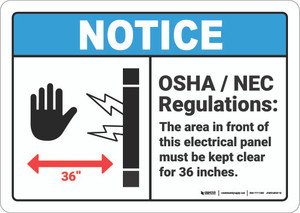 Notice: OSHA NEC Electrical Panel Regulations   - Wall Sign