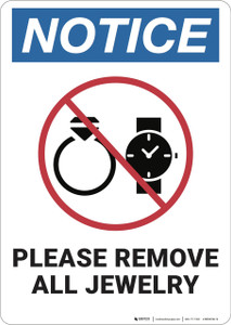 Notice: Please Remove Jewelry ANSI - Wall Sign