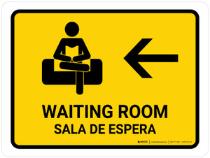Waiting Room With Left Arrow Yellow Bilingual Landscape - Wall Sign