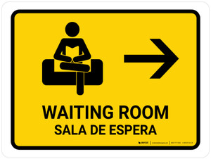 Waiting Room With Right Arrow Yellow Bilingual Landscape - Wall Sign