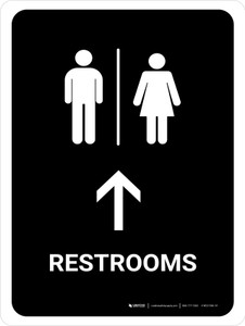 Restrooms With Up Arrow Black Portrait - Wall Sign