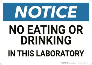 Notice: No Eating Drinking In Laboratory - Wall Sign