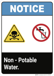 Notice: Non Potable Waters - Wall Sign
