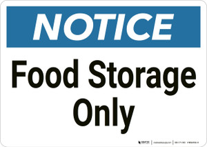 Notice: Osha  Food Storage Only - Wall Sign