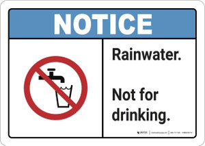 Notice: Rainwater Not For Drinking - Wall Sign