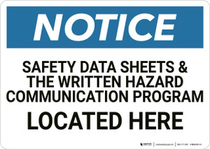 Notice: Safety Data Sheets Located Here - Wall Sign