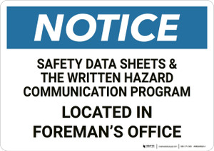Notice: Safety Data Sheets Located In Office - Wall Sign