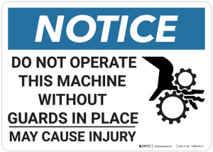 Notice: Do Not Operate This Machine - Wall Sign