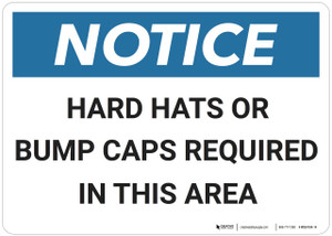 Notice: Hard Hats Bump Caps Required - Wall Sign