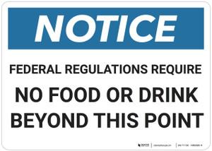 Notice: Notice No Food Drink - Wall Sign