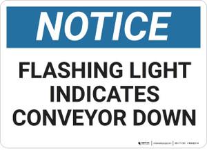 Notice: Flashing Light Indicates Conveyor Down - Wall Sign