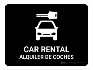 Car Rental Black Bilingual Landscape - Wall Sign