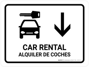 Car Rental With Down Arrow White Bilingual Landscape - Wall Sign