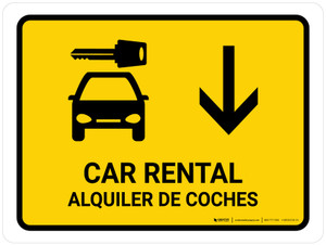 Car Rental With Down Arrow Yellow Bilingual Landscape - Wall Sign