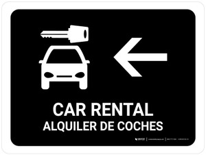 Car Rental With Left Arrow Black Bilingual Landscape - Wall Sign